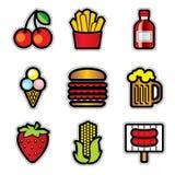 De pictogrammen van het voedsel contur Stock Foto