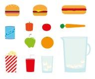 De pictogrammen van het voedsel en van de drank Stock Foto's
