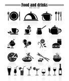 De pictogrammen van het voedsel en van de drank Stock Afbeeldingen