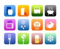 De pictogrammen van het voedsel en van de keuken Royalty-vrije Stock Afbeelding