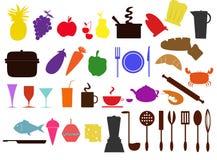 De pictogrammen van het voedsel en van de keuken Stock Afbeeldingen