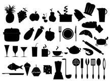De pictogrammen van het voedsel en van de keuken Stock Fotografie