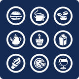 De pictogrammen van het voedsel en van de Keuken (plaats 9, deel 1) Stock Fotografie