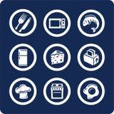 De pictogrammen van het voedsel en van de Keuken (plaats 9, deel 2) Stock Afbeeldingen