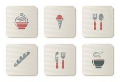 De pictogrammen van het voedsel en van het Restaurant | De reeks van het karton Stock Foto's