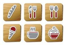 De pictogrammen van het voedsel en van het Restaurant | De reeks van het karton Royalty-vrije Stock Foto