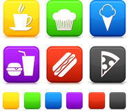 De Pictogrammen van het voedsel op de Vierkante Knopen van Internet Royalty-vrije Stock Afbeeldingen
