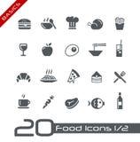 De Pictogrammen van het voedsel - Reeks 1 van 2 Grondbeginselen van // Stock Foto