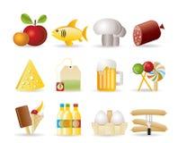 De pictogrammen van het voedsel, van de drank en van de winkel Stock Foto's