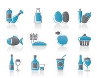 De pictogrammen van het voedsel, van de drank en van Voedsels Stock Fotografie