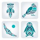 De pictogrammen van het vogelsmozaïek Stock Foto