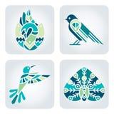 De pictogrammen van het vogelsmozaïek Stock Foto's
