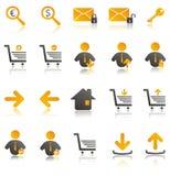 De pictogrammen van het Web die voor uw website worden geplaatst Stock Foto's