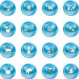 De pictogrammen van het Web en van de Gegevensverwerking. Stock Foto