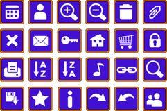 De pictogrammen van het Web knoopt 1 blauw dicht Stock Foto