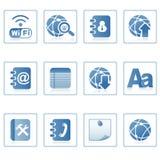 De pictogrammen van het Web: mededeling over mobiel Stock Foto's