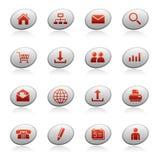 De pictogrammen van het Web op ellipsknopen Stock Foto's