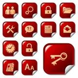 De pictogrammen van het Web op sticker knoopt 3 dicht Stock Fotografie