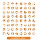 De pictogrammen van het Web. sinaasappel en wit Stock Afbeeldingen