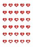 De Pictogrammen van het Web van de liefde plaatsen 1 Stock Foto