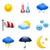 De pictogrammen van het weer. Royalty-vrije Stock Foto's