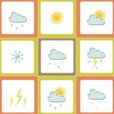 De pictogrammen van het weer Stock Afbeeldingen