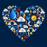 De pictogrammen van het weer die in hartvorm worden geplaatst Stock Fotografie