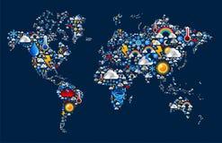 De pictogrammen van het weer die op de vorm van de kaartwereld worden geplaatst Royalty-vrije Stock Foto's