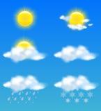 De pictogrammen van het weer die voor af:drukken en Webgebruik worden geplaatst Stock Foto