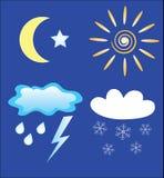 De pictogrammen van het weer en van de dag en van de nacht Stock Foto's