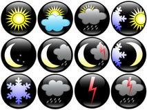 De pictogrammen van het weer en van het Seizoen Stock Foto's
