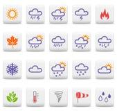 De pictogrammen van het weer en van seizoenen Stock Foto's