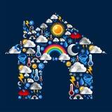 De Pictogrammen van het weer geplaatst huis Stock Foto's