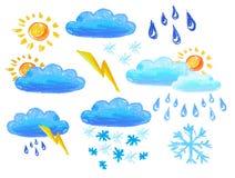 De pictogrammen van het weer het drowing Vector Illustratie