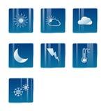 De pictogrammen van het weer, maan, zon, wolk Royalty-vrije Stock Fotografie