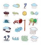 De pictogrammen van het weer Vector illustratie Royalty-vrije Stock Foto
