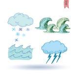 De pictogrammen van het weer Vector illustratie Royalty-vrije Stock Afbeelding