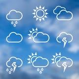 De pictogrammen van het weer widgets malplaatje voor de gegevensverwerking van Web Stock Foto