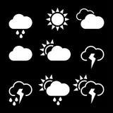 De pictogrammen van het weer widgets malplaatje voor de gegevensverwerking van Web Stock Fotografie