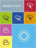 De pictogrammen van het weerrapport Stock Foto's