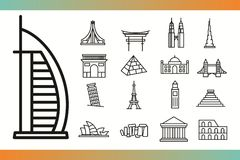 De pictogrammen van het wereldoriëntatiepunt Royalty-vrije Stock Foto's