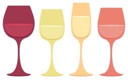 De pictogrammen van het wijnglas Stock Afbeelding