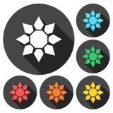 De pictogrammen van het zonnebloemsymbool met lange schaduw worden geplaatst die Stock Fotografie