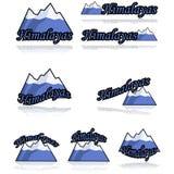 De pictogrammen van Himalayagebergte Stock Afbeeldingen