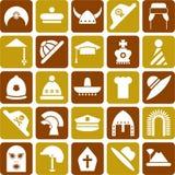 De pictogrammen van hoeden Stock Foto