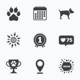 De pictogrammen van huisdieren Kattenpoot met koppelingenteken Royalty-vrije Stock Afbeelding
