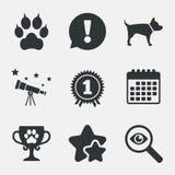 De pictogrammen van huisdieren Kattenpoot met koppelingenteken Stock Foto