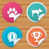 De pictogrammen van huisdieren Kattenpoot met koppelingenteken Stock Afbeelding