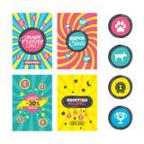 De pictogrammen van huisdieren Kattenpoot met koppelingenteken Royalty-vrije Stock Foto's
