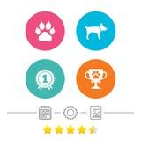 De pictogrammen van huisdieren Kattenpoot met koppelingenteken Stock Foto's